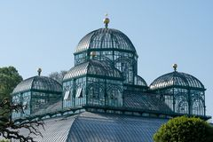 The Royal Greenhouses at Laeken, Brussels, Belgium, composed of a number of connected greenhouses including the  Congo Greenhouse. The Royal Greenhouses at royalty free stock photography