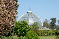 The Royal Greenhouses at Laeken, Brussels, Belgium, composed of a complex of a number of greenhouses. The Royal Greenhouses at Laeken, Brussels, Belgium, made stock photography