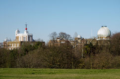 Royal Greenwich Observatory. View from Greenwich Park of the Royal Observatory in South East London.  Hundreds of years old, the astronomy centre is on the Stock Photo