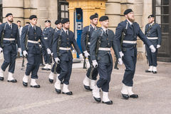 Royal Guard change in Stockholm Stock Photos