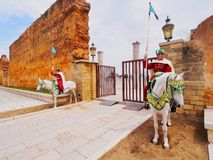 Royal guard in front of the Hassan Tower and Mausoleum of Mohammed V in Rabat Stock Image