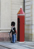 Royal Guard guarding Amalienborg Castle in Copenhagen, Denmark Stock Photos