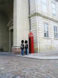 Royal Guard guarding Amalienborg Castle in Copenhagen, Denmark Royalty Free Stock Photos