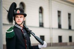 Royal Guard guarding Royal Palace in Oslo, Norway Royalty Free Stock Photography