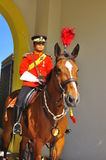 Royal guard on horse guarding the palace Stock Image