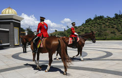 Royal guard with horse. Malaysian guard of honor at National Palace main entrance in Kuala Lumpur, Malaysia Royalty Free Stock Images