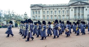 London / England - 02. 07. 2017: Royal Guard Music parade marching at the Buckingham Palace. Trumpet players squad. Royal Guard Music parade marching at the stock photography