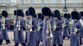 London / England - 02.07.2017: Royal Guard Music parade marching at the Buckingham Palace. Trumpet players squad. Royal Guard Music parade marching at the stock images