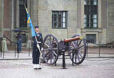 Royal Guard near the cannon in Stockholm Stock Images