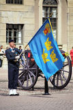 Royal Guard near the cannon in Stockholm Royalty Free Stock Photo