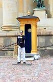 Royal Guard protecting Royal Palace in Stockholm stock photo