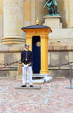 Royal Guard protecting Royal Palace in Stockholm Stock Photos