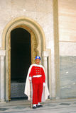 Royal guard, Rabat, Morocco. A guard is standing in front of the Royal Mausoleum Royalty Free Stock Photos