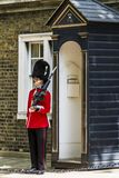 Royal Guard standing near a booth stock image