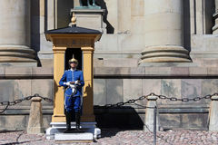 Royal guard. STOCKHOLM, SWEDEN - AUGUST 14: Royal guard at the Royal Palace in Stockholm on August 14, 2013 Royalty Free Stock Photo