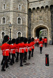 Royal guards. Changing of the guards at Windsor castle, England royalty free stock image