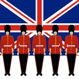 Royal Guards on the background of the flag of Great Britain Royalty Free Stock Photos