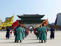 Royal Guards Ceremony in Seoul. Gwanghwamun, gyeongbokgung palace, Seoul, South Korea Stock Photo