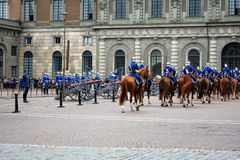 The Royal Guards - changing of the guards at the Royal Castle in Royalty Free Stock Image