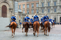 The Royal Guards - changing of the guards at the Royal Castle in Stock Images