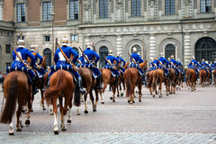 The Royal Guards - changing of the guards at the Royal Castle in Stock Image