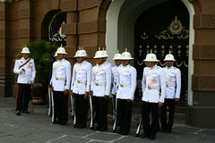 Royal guards in Grand Palace in Bangkok Royalty Free Stock Images