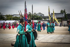 Royal guards near the gate of Seoul Palace Royalty Free Stock Photo