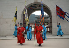 Royal guards, Seoul, Korean Republic Royalty Free Stock Images