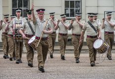 Your Majesty royal guards changing ceremony at Whitehall. The orchestra Royalty Free Stock Image