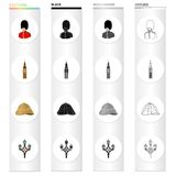 The Royal Guardsman, the Big Ben Tower, the English cork hat, the street lamp. England set collection icons in cartoon. Black monochrome outline style vector Stock Photos