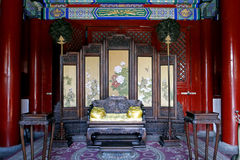 The royal hall of China. Arrangement in the royal hall of China. it was built in Qing Dynasty of China Stock Photography