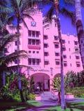 Royal Hawaiian Hotel. Waikiki Beach, , Oahu,  Hawaii, USA - September 5, 2015:  World famouns Waikiki Beach is home to many luxury resort hotels, including the ` Royalty Free Stock Photos