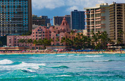 Royal Hawaiian Hotel. Waikiki Beach, , Oahu,  Hawaii, USA - September 5, 2015:  World famouns Waikiki Beach is home to many luxury resort hotels, including the ` Stock Images