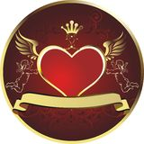 Royal heart. Red heart in a gold frame topped with a crown with angels on each side Royalty Free Stock Images