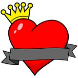 Royal Heart with Banner Royalty Free Stock Photos