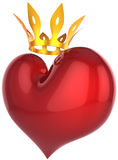 Royal Heart shape. King heart abstract. Lucky darling concept. Beautiful red heart shape with a shiny golden crown. This is a detailed 3D rendering (Hi-Res) Royalty Free Stock Image