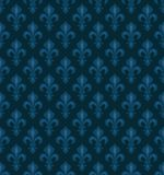 Royal Heraldic Lilies, seamless pattern. Royal Heraldic Lilies (Fleur-de-lis) — dark blue velvet, seamless pattern, wallpaper background Stock Images