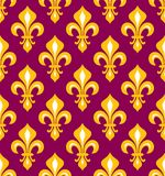 Royal heraldic Lilies, seamless pattern. Royal heraldic Lilies (Fleur-de-lis) — purple and gold, seamless pattern, wallpaper background Stock Photo