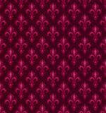 Royal Heraldic Lilies, seamless pattern. Royal Heraldic Lilies (Fleur-de-lis) — Dark cherry Red velvet, seamless pattern, wallpaper background Stock Images