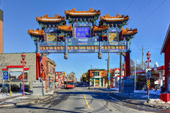 Royal Imperial Arch - Ottawa, Canada. Ottawa, Canada - December 25, 2016: The royal imperial arch in Ottawa, Canada. It marks the entrance of the Chinatown area Royalty Free Stock Image