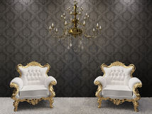 Royal interior. chandelier with armchairs stock photography