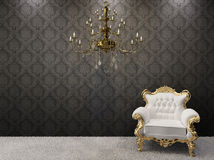 Royal interior. chandelier with armchairs Royalty Free Stock Image