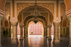 Royal interior in Jaipur palace, India stock photo