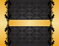 Royal Invitation. Charcoal invitation card with gold banner & frame Royalty Free Stock Photo