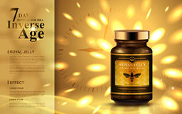Royal jelly ad. With bright golden lights, clock background  3d illustration Stock Images