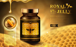 Royal jelly ad. With capsules, honeycomb, and dropping fluid, golden background 3d illustration stock illustration