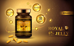 Royal jelly ad. With capsules and shining bubbles, golden background 3d illustration Stock Photo