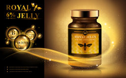 Royal jelly ad. With light streak and shining bubbles, golden background 3d illustration vector illustration