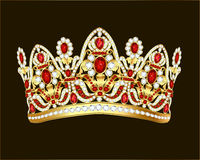 Royal jewelry shiny gold crown with gems and rubies. Illustration royal jewelry shiny gold crown with gems and rubies stock illustration