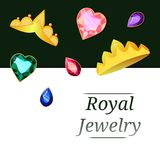 Royal jewels in the form of crowns and stones vector illustration